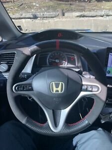 2007 Honda Civic Si Steering Wheel Cover Carbon Fiber Suede