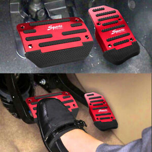 Red Non Slip Automatic Gas Brake Foot Pedal Pad Cover Car Accessories Parts