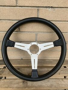 Vintage Nardi Classic Silver Spoke With Black Leather 365mm Steering Wheel