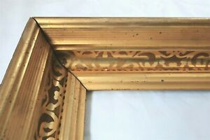 Antique Fit 10 X 14 Gold Gilt Picture Frame Stencil Wood Gesso Fine Art Country