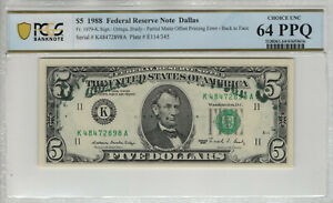 1988 5 Federal Reserve Note Partial Matte Offset Printing Error Pcgs B 64 Ppq