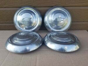 Set Of 4 Vintage Chevy Truck Bowtie Dog Dish Poverty Hubcaps Oem used
