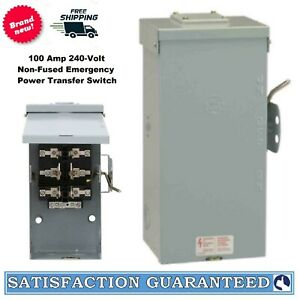 Emergency Power Transfer Switch Non Fused Generator Manual Ge 100 Amp 240 V