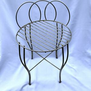Vintage Mcm Metal Wire Vanity Stool Chair Round Seat Shabby Chic