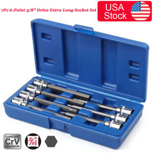 7pc 6 point 3 8 Drive Extra Long Hex Bit Socket Set Hex Allen Keys 3mm 8mm 10mm