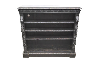 French Black Forest Styl Carved Book Shelves Bookcase Classical Chic Lion Heads