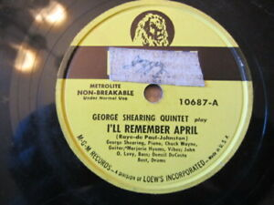 George Shearing Quintet I ll Remember April jumping With Symphony Sid Mgm 10687