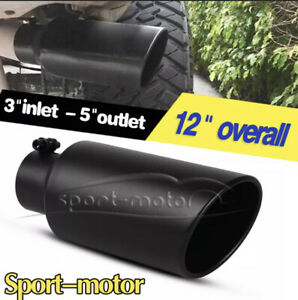 3 Inlet 5 Outlet 12 Long Angle Cut Rolled Bolt on Exhaust Tip Tail Pipe Black