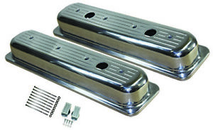 Center Bolt Sb Chevy Short Ball Milled Polished Aluminum Valve Covers 87 95 350