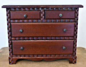 Antique Vintage Salesman Sample Doll Chest Drawers Jewelry Box Walnut Miniature