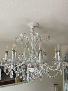Antique Crystal Chandelier Large 8 Arm Daisies White Shabby