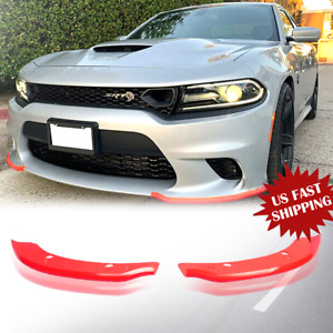 Front Bumper Lip Splitter Spoiler For Dodge Charger Srt Scat Pack 15 2019 Red