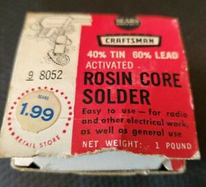 Vintage New Sears Craftsman 60 40 Activated Rosin Core Solder 98062