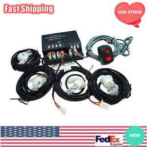 4 Hid Bulbs Emergency Strobe Light Hide Away Headlight Kit Waring System 80w 12v
