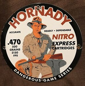 VINTAGE STYLE HORNADY CARTRIDGES GAS amp; OIL PORCELAIN 12 INCH ROUND SIGN $105.00
