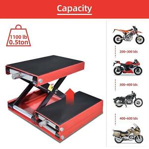 1100lb Wide Deck Motorcycle Center Scissor Lift Jack Hoist Stand Bikes Atv Red