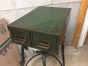 Vtg 2 Drawer Industrial File Cabinet 12 Wide X 18 Deep X 5 25 High Very Good