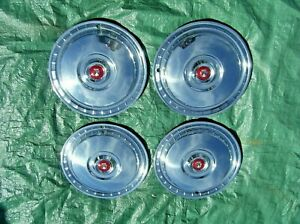 1955 1956 Ford Fairlane Victoria Nice Wheel Covers 4 W Nos Centers Hubcaps