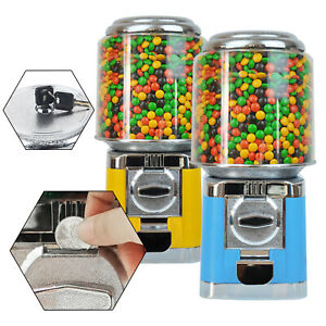 Bulk Candy Vending Machine Gumball Canisters Yellow blue Countertop 25 Cent Sale