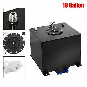 10 Gallon Lightweight Black Coat Aluminum Race Drift Fuel Cell Tank level Sender