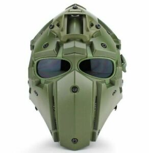 Full Face Hunting Protective Mask Tactical Airsoft Helmet w 4 Pairs Goggles GN $110.33
