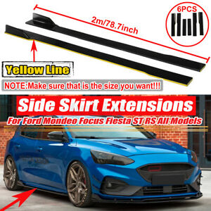 Pair Side Skirts Extensions Splitters Lip For Ford Focus Hatchback Fiesta St