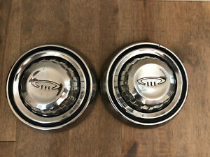 Pair Of 1964 1965 1966 1967 Mopar Chrysler Dog Dish Hubcaps Poverty Muscle Car