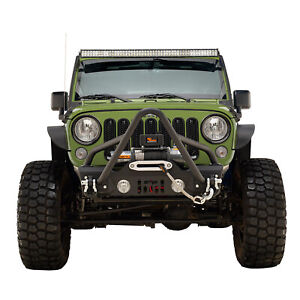 Off Road Stinger Front Bumper Stubby With Winch Plate Fit For 2007 2018 Jeep Jk