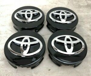 Set Of 4 Fits Toyota Wheel Center Hub Cap Gloss Black Chrome Logo 62mm 2 1 2
