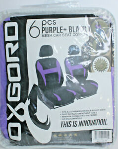 Oxgord Mesh Purple And Black Low Back Bucket Car Seat Covers 4 Pc No Headrests