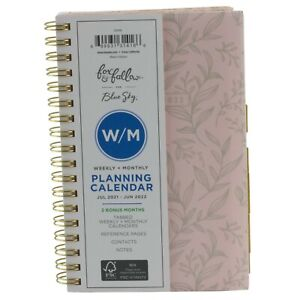 Blue Sky 2021 2022 Weekly Monthly Pocket Spiral Planner 4 X 6 Pink