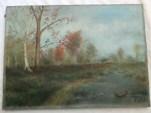 Antique Folk Art Boat Oil Painting Picture Frame Country Primitive Victorian