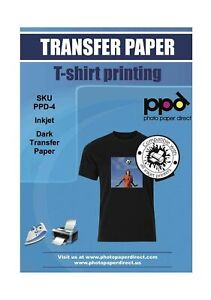 Ppd Inkjet Premium Iron on Dark T Shirt Transfers Paper Ltr 8 5x11 Pack Of 5