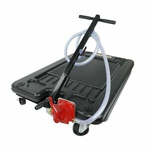 Black 17 Gallon Low Profile Portable Truck Car Oil Drain Pan With Pump And Hose
