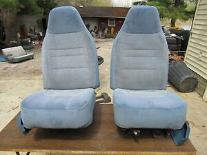 92 96 Ford Truck Bronco Blue Front Bucket Seats