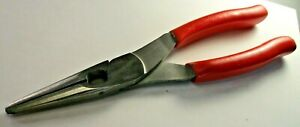 Snap On 196cf 8 Long Red Needle Nose Pliers W Side Cutter Usa