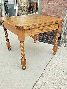 Antique Victorian Barley Twist Draw Leaf Oak Refectory Pub Table With Drawers