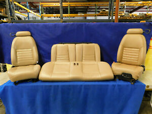 99 00 01 02 03 04 Ford Mustang Coupe Parchment Tan Front Rear Seats Clean P55