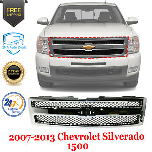 Front Grille Chrome Shell Textured Plastic For 2007 13 Chevrolet Silverado 1500