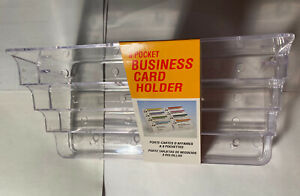 8 Pocket Clear Acrylic Business Card Holder Stand New