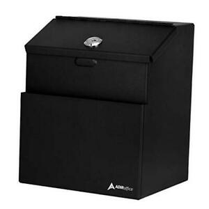 Wall Mountable Steel Suggestion Box With Lock Donation Box Collection Black