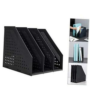 Collapsible Magazine File Holder desk 3 Compartments Black collapsible