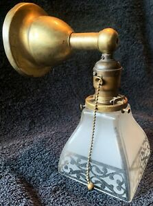Vintage Arts Crafts Brass Sconce Etched Glass Shade Hubbell F Pullchain