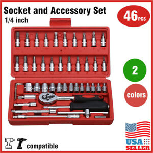 46 Pcs 1 4 Inch Drive Impact Socket Wrench Tool Set With Drill Adapter W case