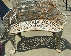 Vintage Ornate Cast Iron Grape Leaf Vine Pattern 2 Person Garden Yard Bench