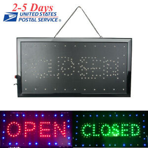 2 In 1 Bright Flashing Led Open Closed Store Shop Business Sign Display Neon Bar