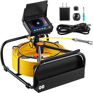 Vevor 98 4 Ft Pipe Inspection Camera Hd Drain Sewer Camera 4 3 In Lcd Monitor