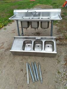 Two Used Three 3 Compartment Stainless Steel Restaurant Bar Sinks