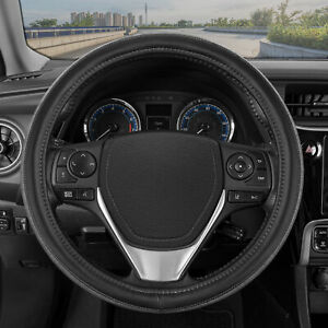 Gray Wood Grain Steering Wheel Cover For Car Truck Van Suv Auto Black Leather