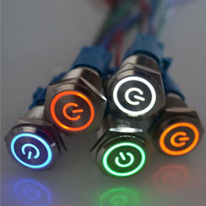 16mm 12v Led On Off Waterproof Stainless Steel Latching Push Button Power Switch